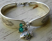 Spoon handle bracelet - fish charm with rhinestones - teal crystal bead - silver plated bird vintage spoons - you  choose crystal color