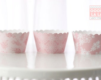 MADE TO ORDER Blush and Lace Cupcake Wrappers- Set of 12