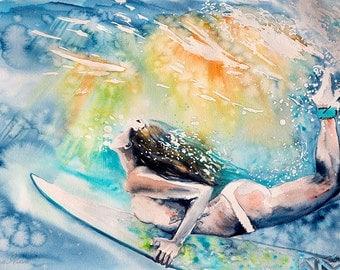 Surfing poster. Surfer Girl. Sea. Gifts for Men. Print.  Womanwatercolor art print. Wall art, wall decor, digital print.