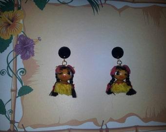 1940s inspired Hawaii Girls earings 100% handmade