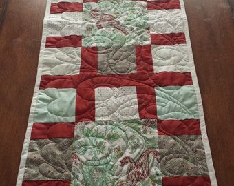 """Oversized Paisley Quilted Table Runner - 17.5"""" x 59"""""""