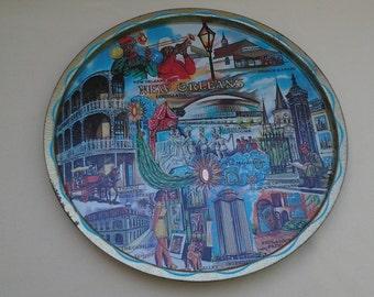 Vintage New Orleans Souvenir Tray ~ Tin ~ Round ~ Mardi Gras ~ Louisiana ~ Metal ~ 1970's ~ Decorative Tray