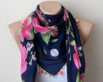 blue scarf pink scarf floral print scarf womans scarves oya scarf yemeni scarf handmade trendy scarf fashion aceessories gift for her