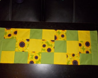 Table runner patchwork  approx 12 x 36 Sunflower yellow and green reversible.