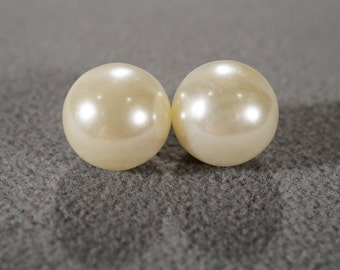 Vintage 2 Extra large Domed Round Faux Pearl Bold Stud Style Pierced Earrings      #259