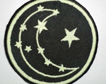 Iron-On Patch - GLOW-in-the-DARK STARS and Moon