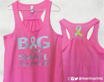 Flowy Tank, BIG or SMALL, Save them All, 2-sided Sparkle Workout / Runner Racerback Tank, Breast Cancer Awareness