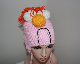 Beaker 'Inspired' Crochet Earflap Hat. Muppets inspired. Pink. Orange Ginger Hair. Muppets Character. All sizes available.