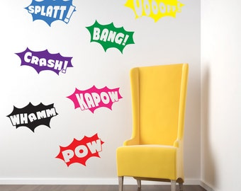 Batman Pow Bang Wall Stickers Kids Nursery Play Room Home Art Decoration Children's Decals Removable Handmade School Bedrooms Bright VC-A10