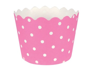 Dot pink bake cups, Valentine's bake cups, polka dot cups, muffin bake cups, pink, baking cups, cupcake liners, party cupcakes, cupcake deco
