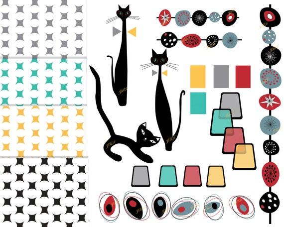 Mid Century Modern Clip Art Modern Digital Paper Cat Clipart Atomic ...