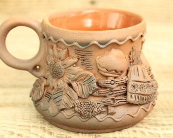 Clay Cup with stucco pattern / tea cup / hand made / pottery cup
