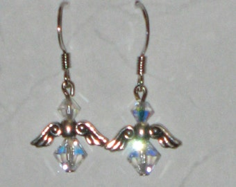Angel Earrings with Clear Swarovski Crystal