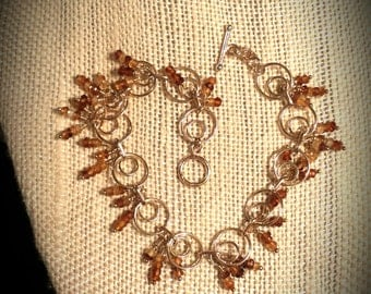 Tiny Natural Hessonite Rondelle Garnet Clusters on Dainty 14K Gold Filled Seven and a Half Inch Bracelet