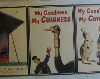 "3 Vintage Guinness Museum Reproduction Beer Posters "" My Goodness My Guinness"" 20"" x 30"""