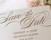 The Begonia Suite - Letterpress Save the Date Wedding Announcement, Gold and Blush, Pink, Script, Traditional, Formal, Timeless, Simple