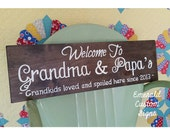 Personalized Grandma and Grandpa Sign. Anniversary Gift. Grandparents To Be. Grandparents Day. Under 50. Welcome Sign. Pregnancy Reveal.