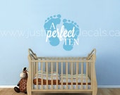 Perfect Ten Wall Decal, Perfect 10 Wall Decal, Nursery Wall Decal - Baby Wall Decal - Childrens Room wall Decal - Quote Wall Decal - 03-0003