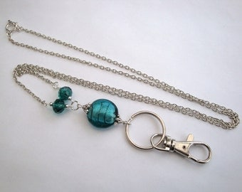 id badge beaded lanyard - silver chain, teal beads, glasses chain holder, key ring
