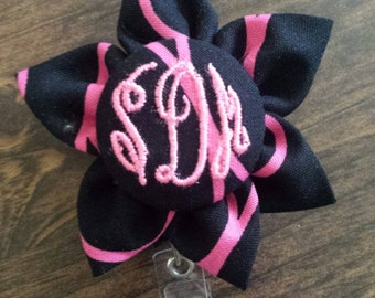 Custom Monogrammed Personalized kanzashi flower  Retractable Badge Holder Reel