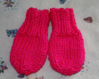 Hot Pink Newborn Mittens - Pink Preemie Mittens or Newborn Mittens - Thumbless Mittens - Scratch Mittens