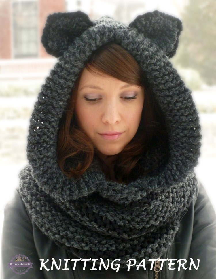 Knitting Pattern Hood With Ears : KNITTING PATTERN Hooded Cat Cowl Cat Ears Hooded by ...