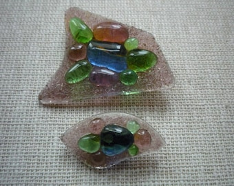 Vintage Mid-Century Handmade Glass Geometric Brooch Pin Set