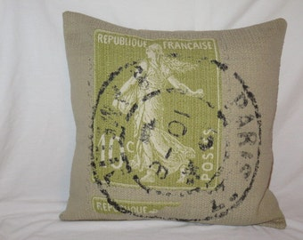 Green French Stamp Pillow