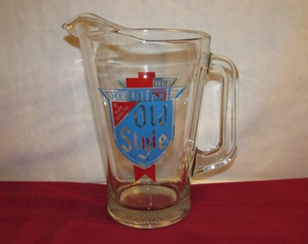 HEILEMAN'S OLD STYLE Glass Beer Pitcher Brewerania
