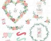"Wedding Clipart pack ""FLORAL HEART SHAPE"" , Vintage Flowers, Floral Frames, Wreaths. 20 images 300 dpi. 20 Png files. Instant DownloadWd107"