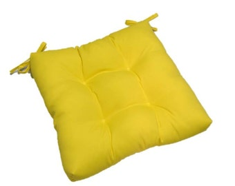 Solid Yellow Tufted Cushion Pad with Ties for Kitchen Dining Seat Chair ~ Select Size