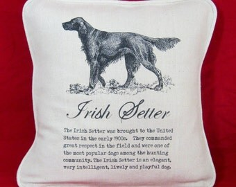 IRISH SETTER PILLOW Handmade Vintage Art and Description of the Irish Setters History and Great Personality - includes Insert.