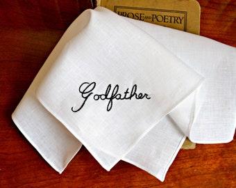 Rolled Hem Godfather Handkerchief, New Godfather Pocket Square, Baptism Hankerchief, God Father Hanky, Rolled Hem Hand Stitched Handkerchief