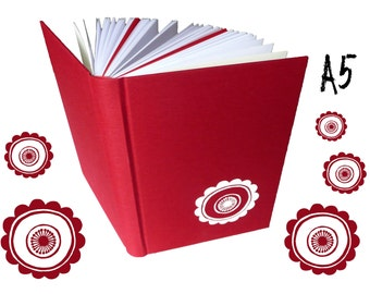 Flower, ornament, hand bound notebook, A5, deep red, motif screen printed by hand