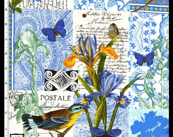 Quilting Cotton - Michael Miller - Bleu Paris in Blue - French Journal Collection  - HALF YARD