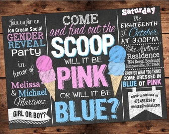 Ice Cream Social Gender Reveal Invitation - Find out the SCOOP Gender Reveal Party - Digital File Only