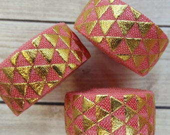 5/8 Coral Tribal Triangle Gold Foil Fold Over Elastic