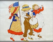 Holly Hobbie Linen Calendar TeaTowel Bicentennial Collectible Kitchen Towel July 4th Independence Day