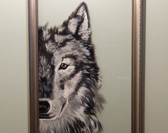 Hand Painted Wolf on Glass