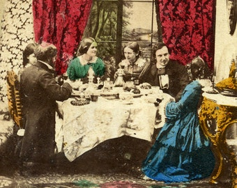 Meal in a Bourgeois Family French or English Old Stereo Photo hand Tinted 1865 - Other - FREE Shipping - S03477