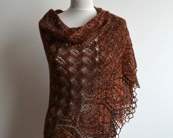 Brown hand knitted lace shawl warm wool cashmere triangular wrap handmade
