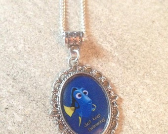 Disney's FINDING NEMO DORY Just Keep Swimming Necklace