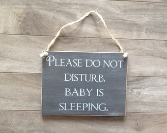 Please do not ring doorbell sign, Please do not disturb sign - Baby Sleeping