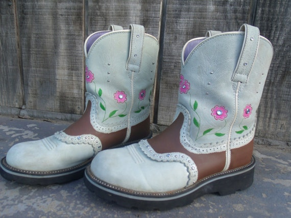 Elegant Hand Painted Vintage High Heel Cowboy Boots Women39s Size 6 6 12