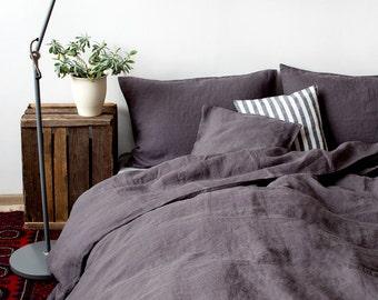 USA Dark Grey Linen Bed Set
