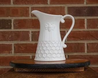 Honey Comb Porcelain Pitcher