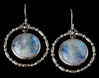 Silver Rainbow Moonstone Hoop Earrings, Sterling Silver Rainbow Moonstone Earrings, Rainbow Moonstone Dangle Earrings: ALTHEA
