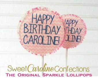 Pink and White Lollipops, Chevron Lollipops, Birthday Favors, Candy Lollipop, Lollipop Favors, Pink and White Favors-Set of Six
