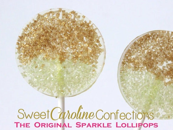 Gold and Mint Lollipops, Hard Candy Lollipops, Candy Lollipop,Wedding Lollipops, Lollipops, Sweet Caroline Confections-Set of Six