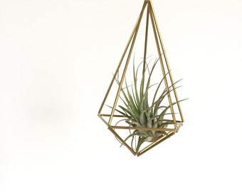 Brass geometric shape, hanging planter, ready to ship hanging air plant, gold hanging terrarium, geometric mobile,